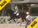 Betsy Steiner<br>Assisting<br>Javier Gaona<br>Olivier<br>Owned by:<br> Janet Bell<br>KWPN<br>11 yrs. old Gelding<br>Training: Prix St. George<br>Duration: 33 minutes